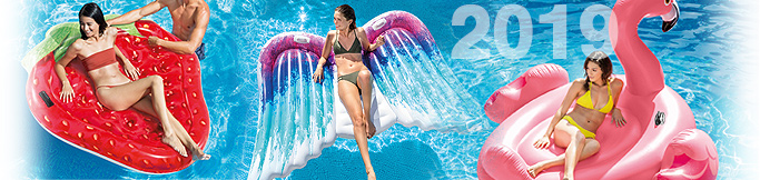 dmuchana wyspa z daszkiem do pływania pelikan łabędź flaming Intex i Bestway