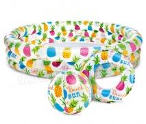 Basen dmuchany Ananas zestaw Intex 132 x 28 cm + piłka i kółko 59469