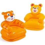 Fotel dmuchany dla dziecka Miś lub Tygrys 65 x 64 cm Intex 68556