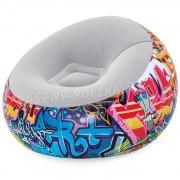 Fotel dmuchany pufa młodzieżowa Graffiti 112 x 112 x 66 cm Bestway 75075