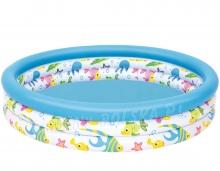 Okrągły basen dmuchany dla dzieci 122 x 25 cm Rybki 51009 Bestway