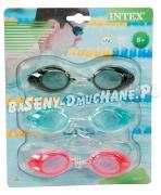 Okulary do pływania 3 sztuki INTEX 55674 różne kolory od 8 lat